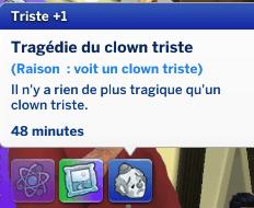 Zoom sur le clown triste