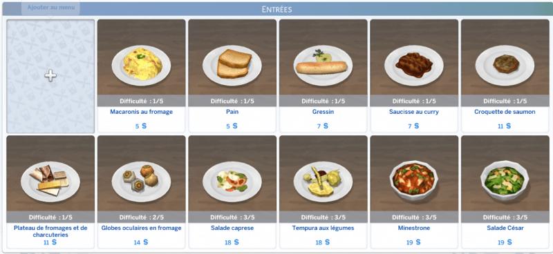Menu plats Sims 4 Au restaurant