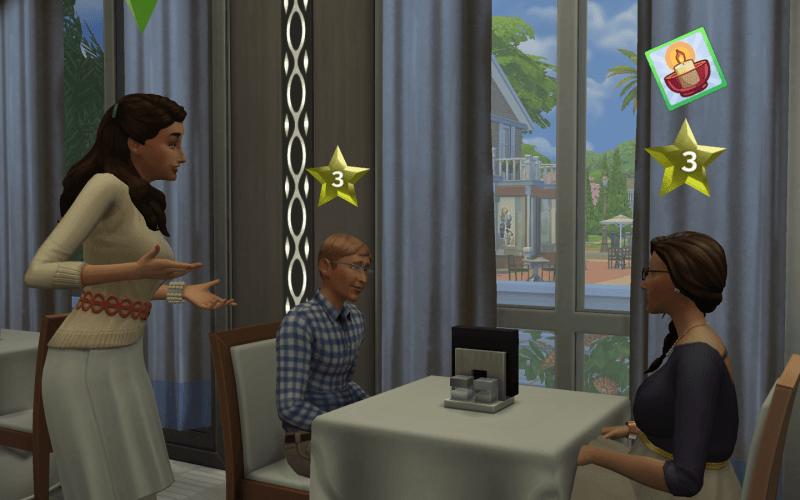Critique étoile sims 4 au restaurant