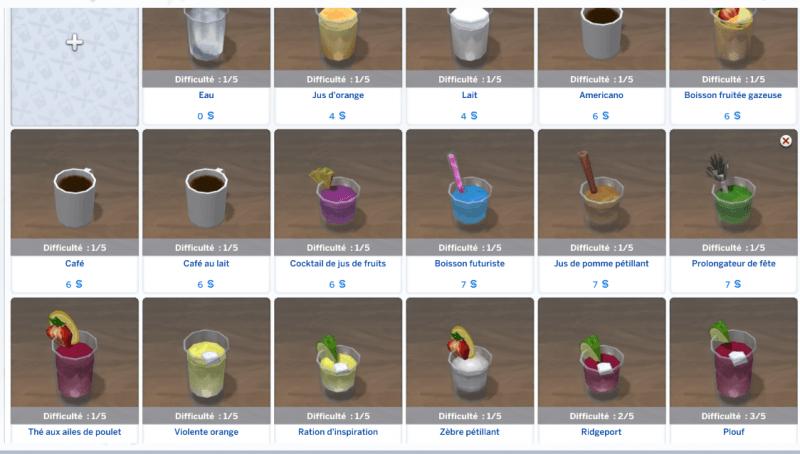 Menu boissons Sims 4 Au restaurant