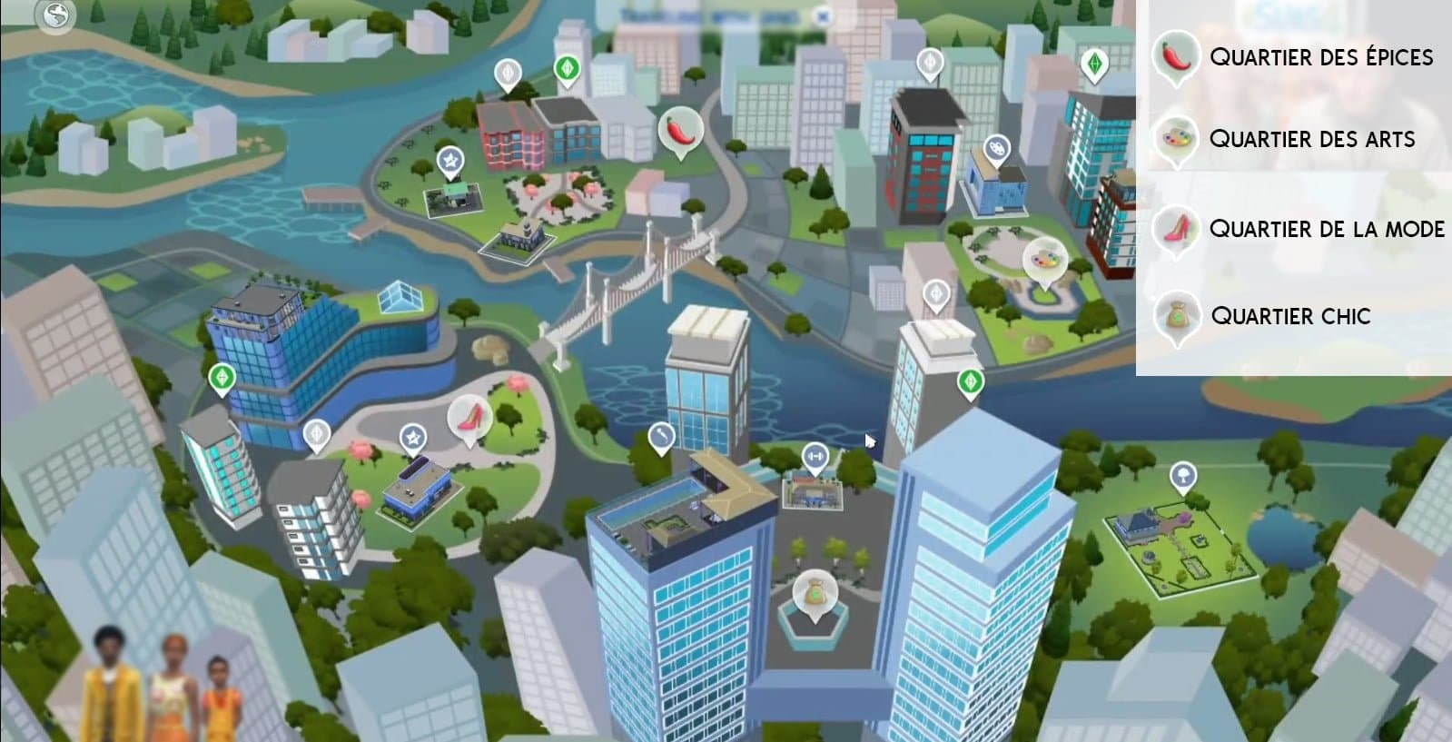 Carte San Myshuno sims 4 vie citadine
