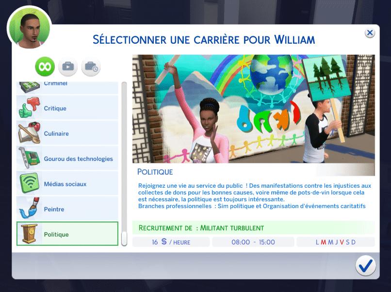 Carrière politique Sims 4 Vie Citadine