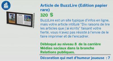 article buzz lire sims 4 Vie Citadine