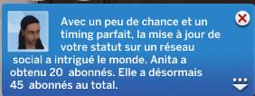 Statut réseaux sociaux Sims 4