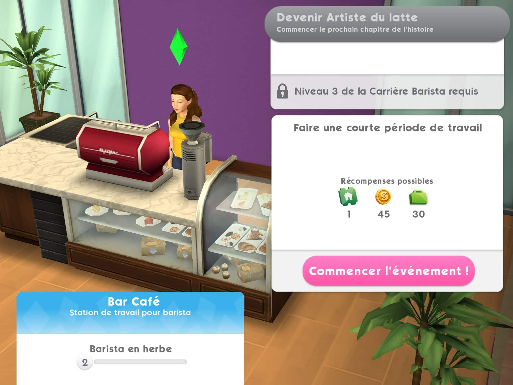 Travail Sims Mobile