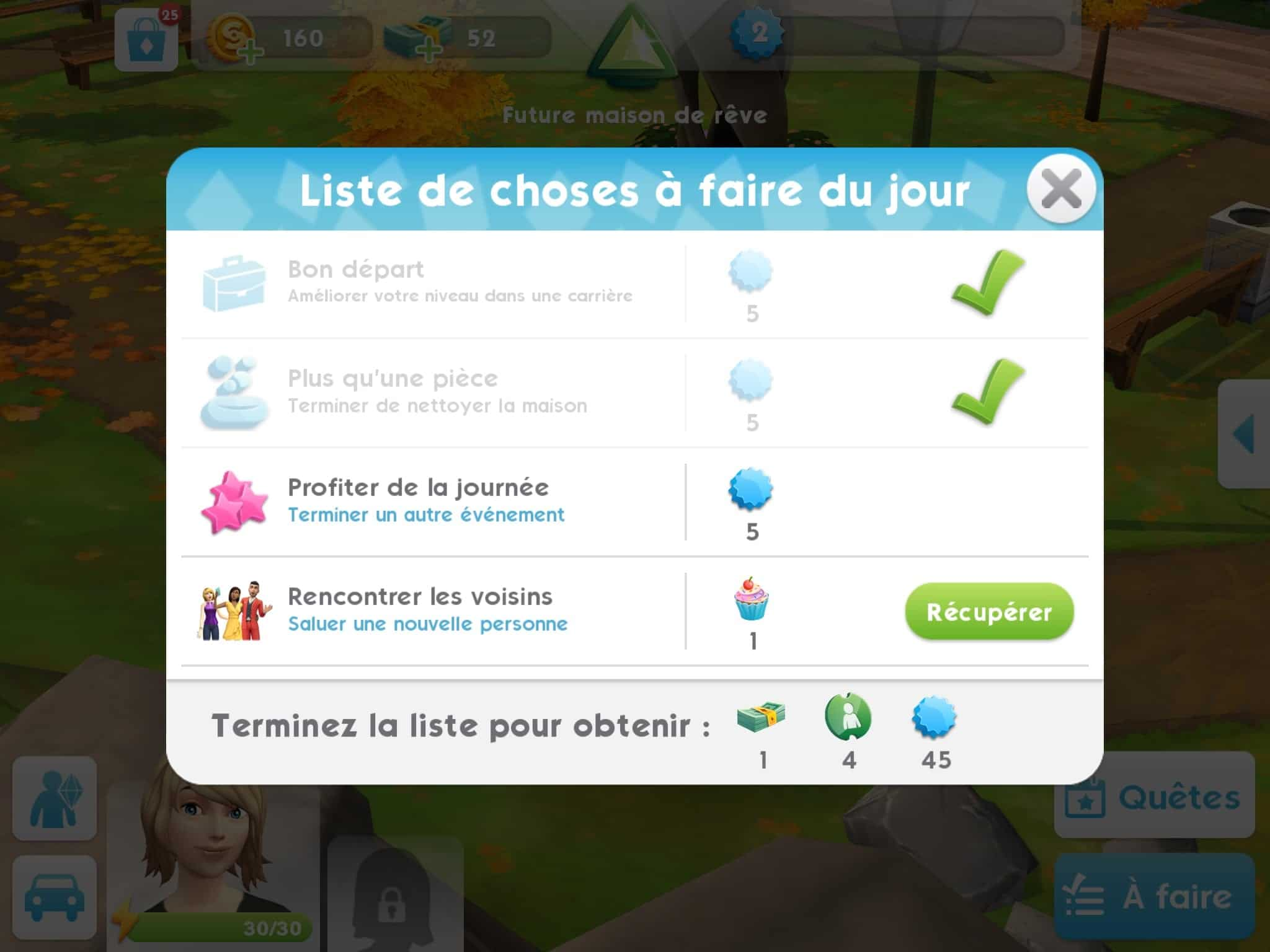 Tâches Sims Mobile