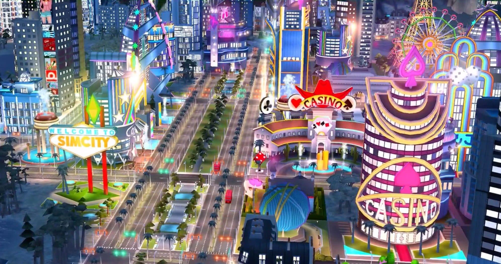 """""""Tous sur le strip"""" dans Simcity BuildIT"""