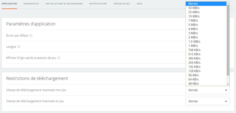 Limiter la vitesse de ses téléchargements sur Origin