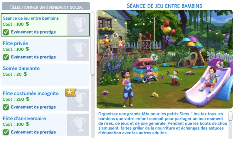 Evénement jeu entre bambins sims 4