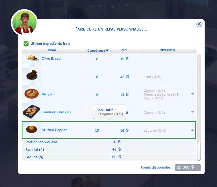 Zoom sur le Custom Food Interactions