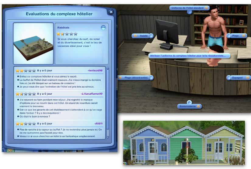 Évaluation hôtel Sims 3 Ile de Rêve