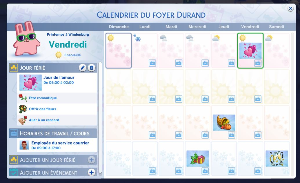 Calendrier Sims 4 Saisons