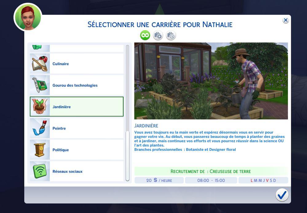 Carrière jardinage sims 4 saisons