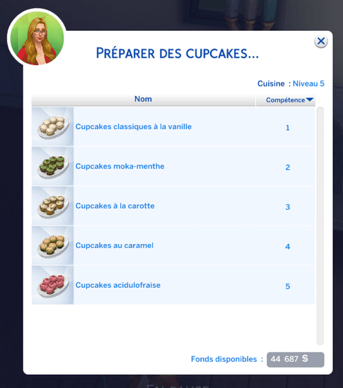 Préparer cupcake sims 4