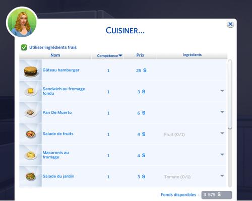 Recettes Sims 4