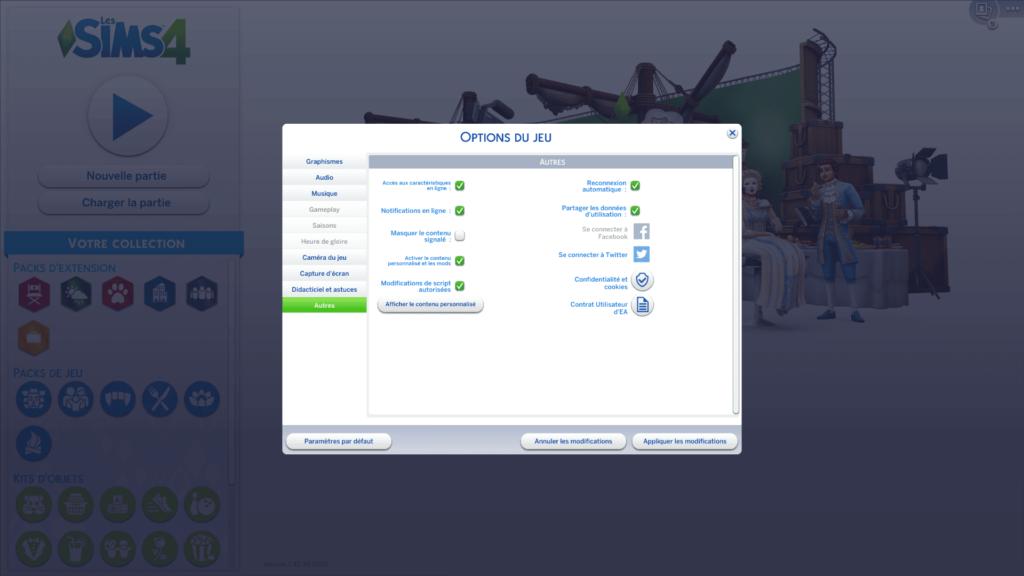 Menu Options Sims 4 pour activer les mods