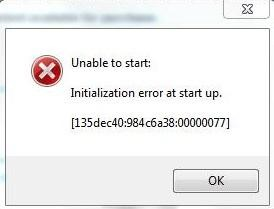 """Erreur """"Impossible de démarrer, erreur d'initialisation au démarrage"""" Initilize"""