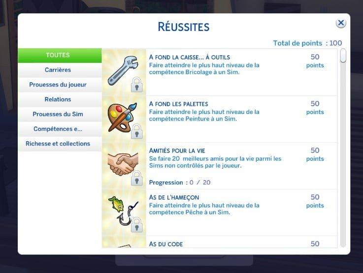 Zoom sur... les réussites des Sims 4