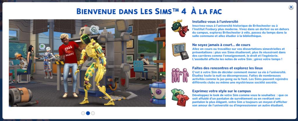Test Les Sims 4 À la Fac