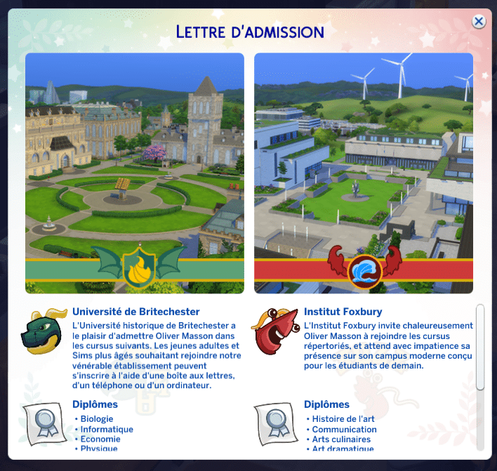 Admission université sims 4 à la fac
