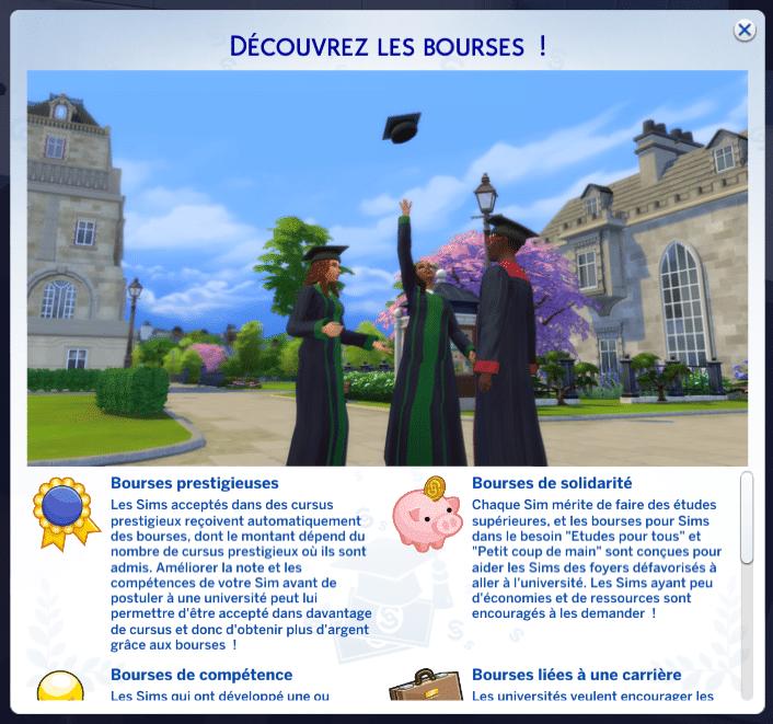 Bourses Sims 4 à la fac