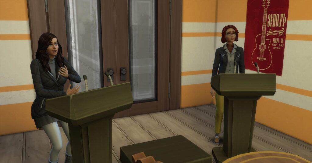 Les Sims 4 : À la fac - Débats