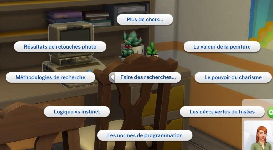 Recherche - Les Sims 4 : À la fac