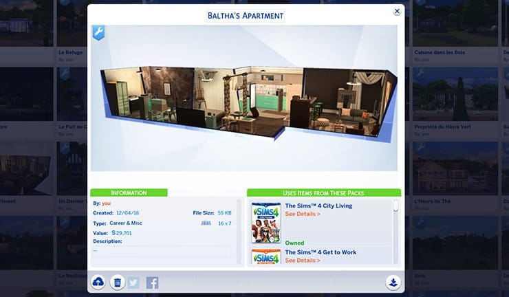 Appartement Galerie Sims 4