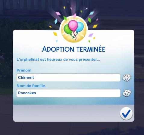 Choix nom enfant adoption sims 4