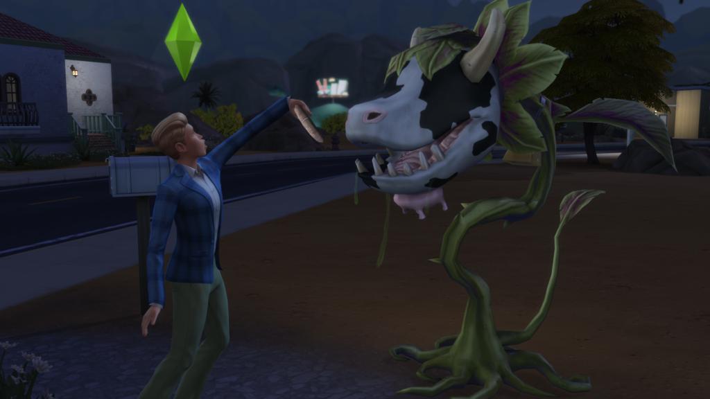 Nourrir plante vache Sims 4