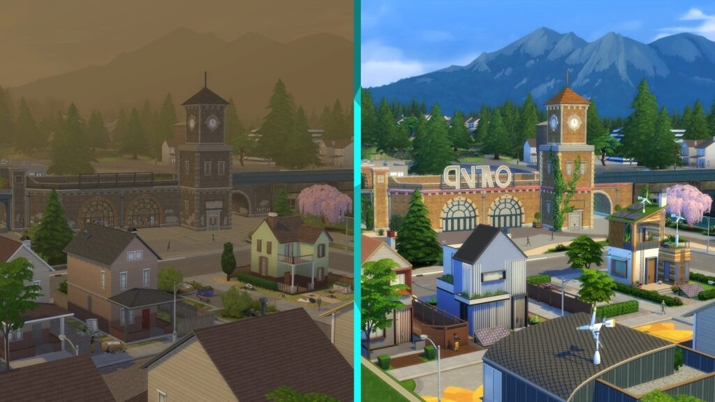Pollution Evergreen Harbor Sims 4 écologie