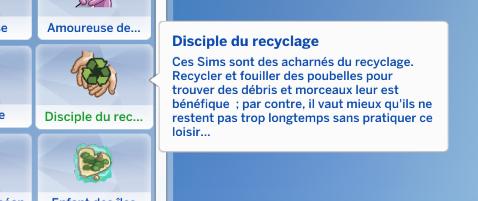 Disciple du recyclage trait de caractère sims 4 écologie