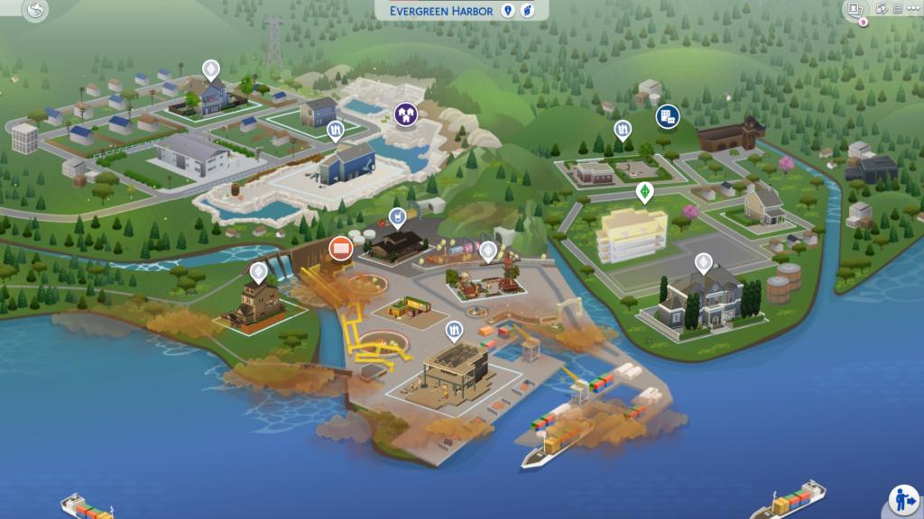Carte Evergreen Harbor Sims 4 écologie