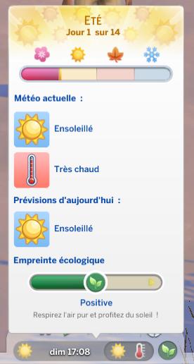 Empreinte écologique positive sims 4