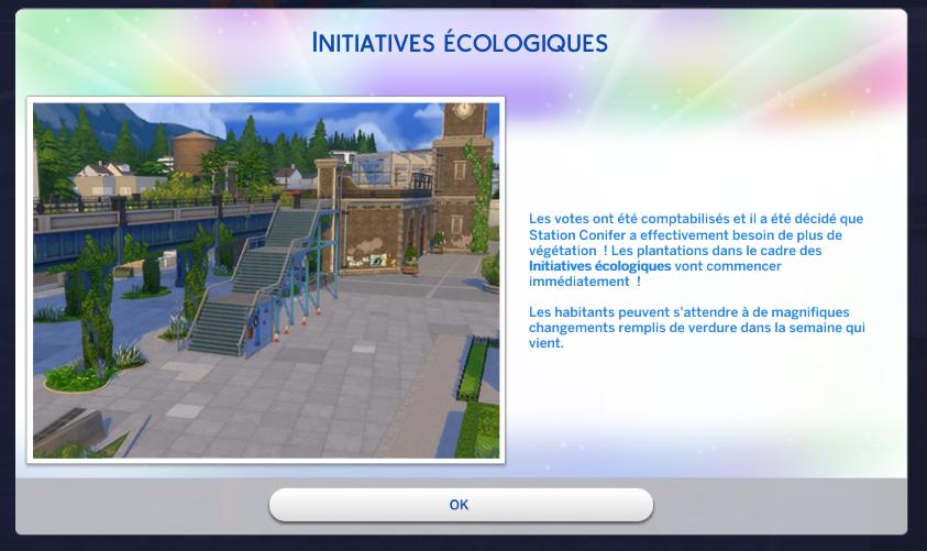 Projet voté sims 4 écologie