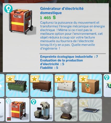 Générateur électrique sims 4 écologie
