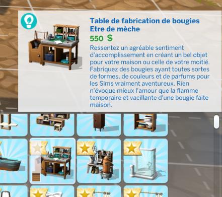 Table de fabrication de bougies sims 4