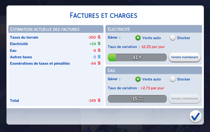 Factures sims 4