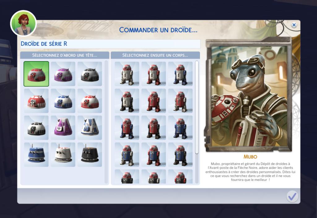 Commander un droide sims 4