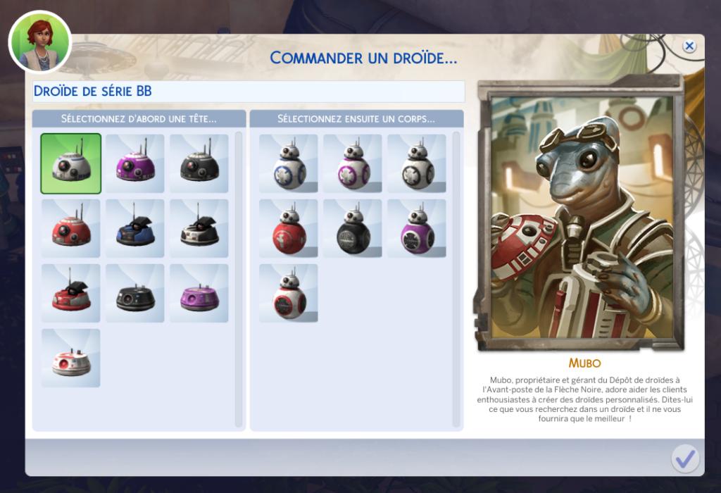 Commander un BB droide sims 4 star wars voyage sur batuu