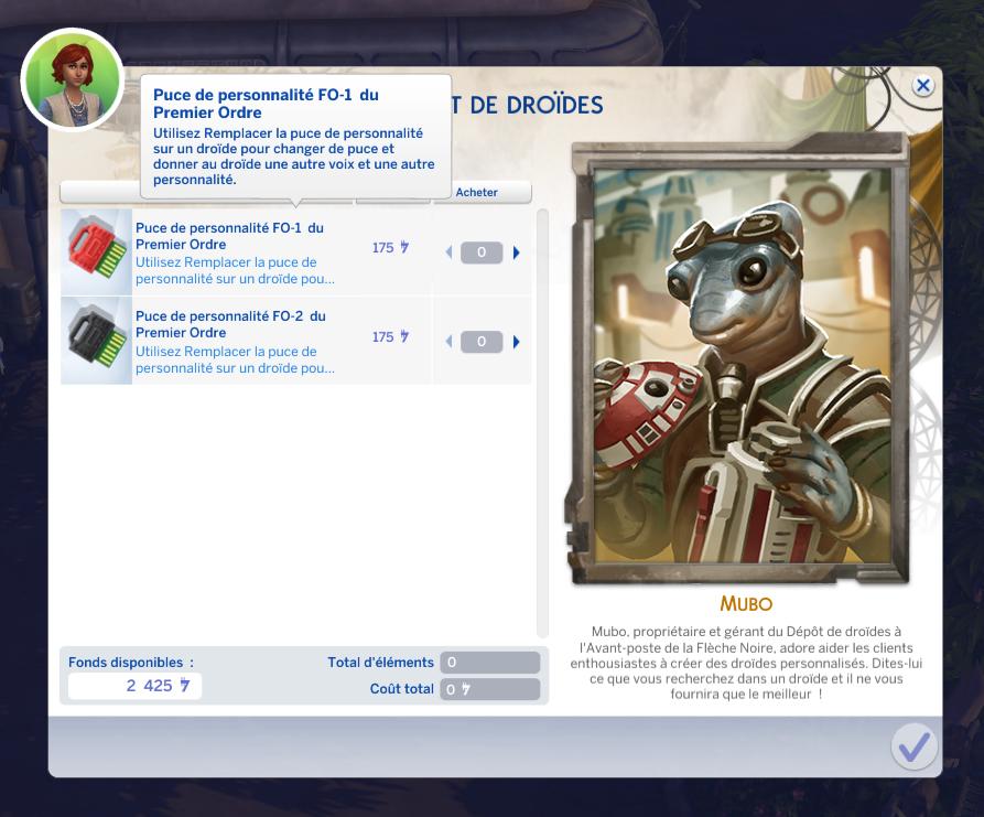 Puce de personnalité droïde sims 4