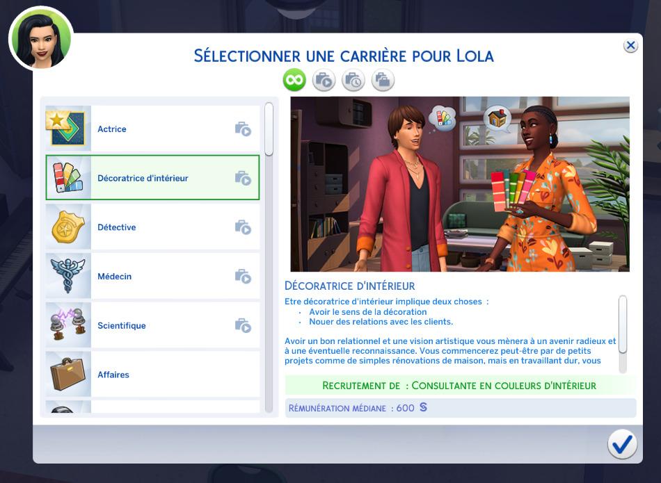 La carrière de décorateur d'intérieur dans Les Sims 4