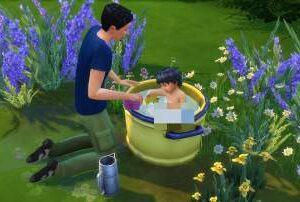 Laver son bambin/animal dans la bassine