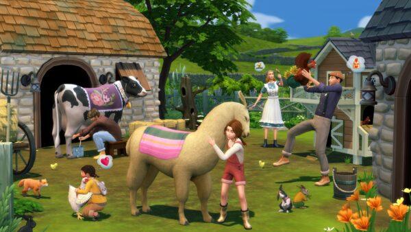 Des vaches, des lamas et des lapins dans l'extension Les Sims 4 Vie à la Campagne