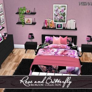 Cadre de lit Rose et papillon