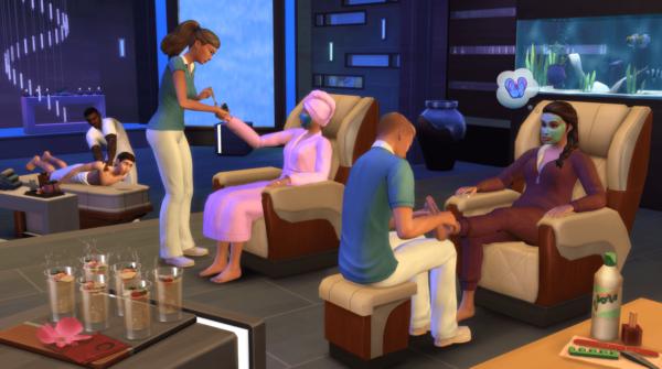 Des manucures et des cours de yoga dans le pack Sims 4 Détente au Spa.